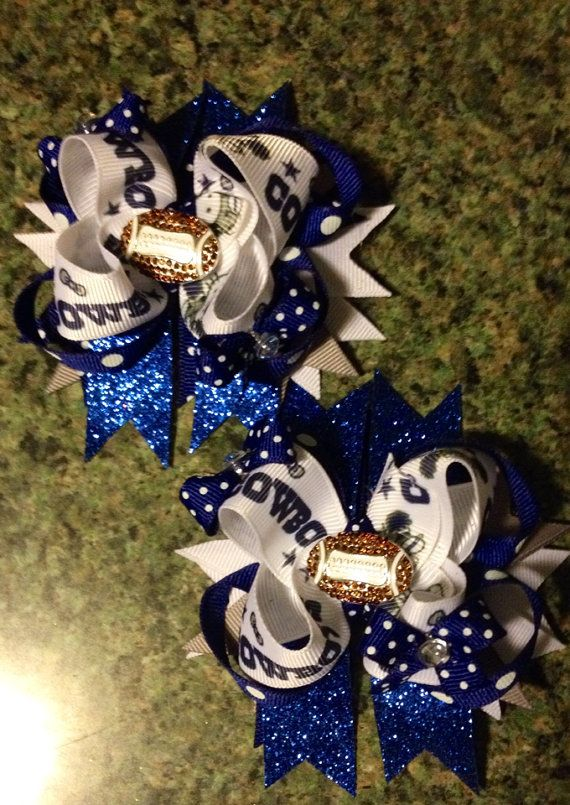 Dallas Cowboys rhinestone football center hair bows