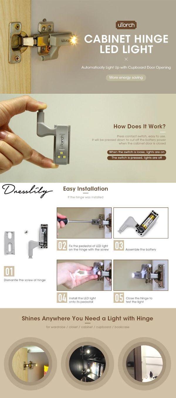 Utorch Cabinet Hinge Led Sensor Light For Kitchen Home Office Closet Wardrobe Lighting Light Sensor Wardrobe Lighting Hinges For Cabinets