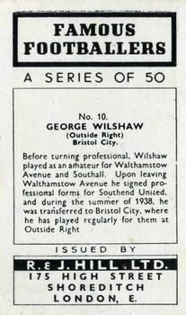 1939 R & J Hill Famous Footballers Series 1 #10 George Willshaw Back