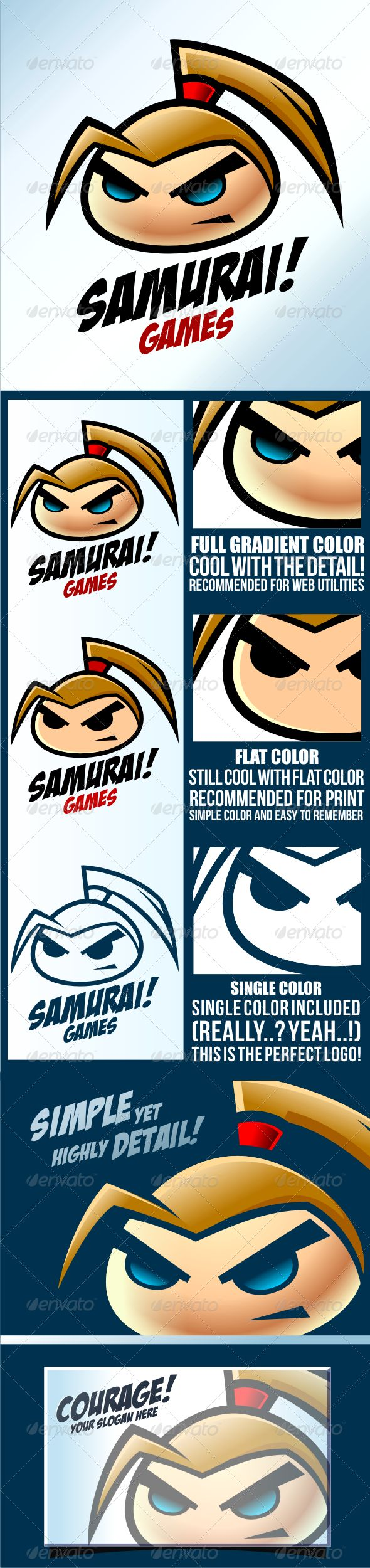 Samurai Game	 Logo Design Template Vector #logotype Download it here: http://graphicriver.net/item/samurai-game/3559312?s_rank=416?ref=nexion