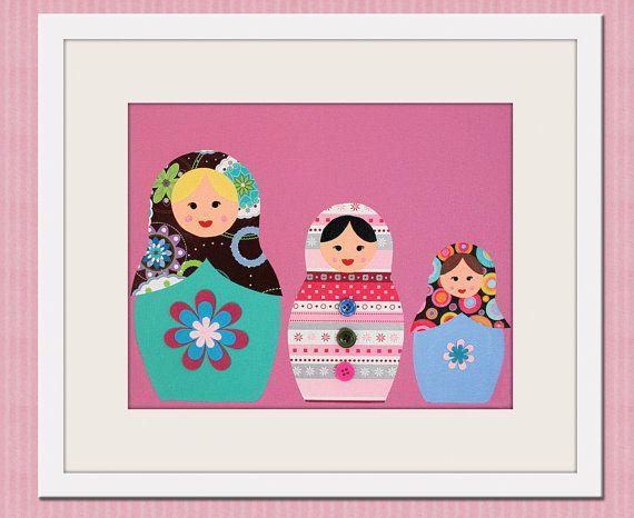 Nursery art print. Matryoshka Dolls Print girls. 8x10 Babushka, Russian Dolls in pink. Child baby artwork, kids wall art rooms & playroom