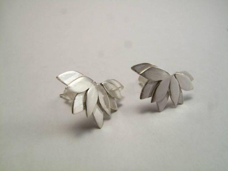 Aros hojas traslapadas Plata 950