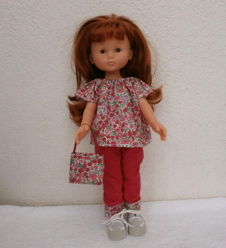 Habits Les Chéries : ensemble tunique Liberty et pantalon rose vif : Jeux, jouets par mcl-poupees