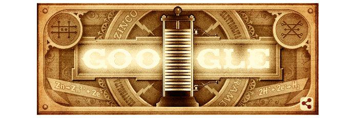 Alessandro Volta recebe homenagem no Doodle do Google (Foto: Reprodução/Google)