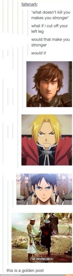 THEY INCLUDED MONTY PYTHON!!!!!!! AND FULLMETAL ALCHEMIST AND ATTACK ON TITAN!!!!!!!!!!!!!