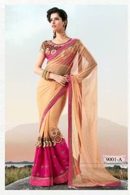 Beige net party wear saree with dhupian designer blouse