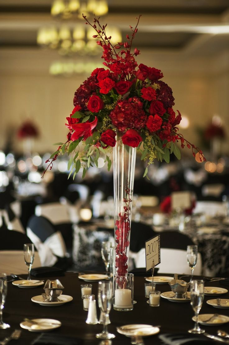 Wedding Flower Arrangements Tampa : Tall red centerpiece sheraton tampa centerpieces