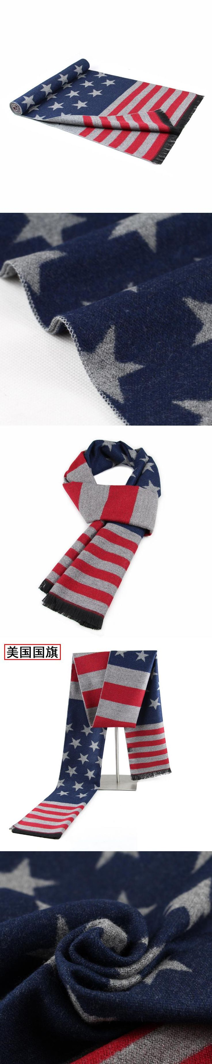 Men Scarf Manufacturer New Fashion American Flag Scarves Processing Undertakes Young Students Scarf Christmas Gift B-5870