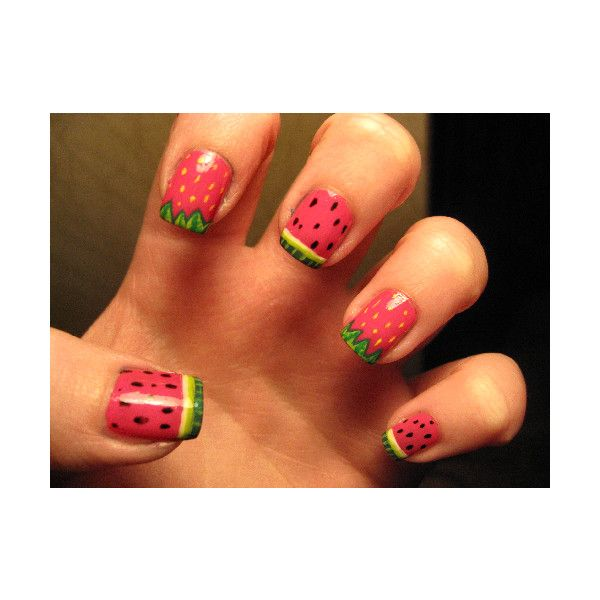 cuuuute: Summer Fruit, Nailart, Nailpolish, Summer Nails, Nails Ideas, Nails Polish, Strawberries Nails, Nails Art Design, Watermelon Nails