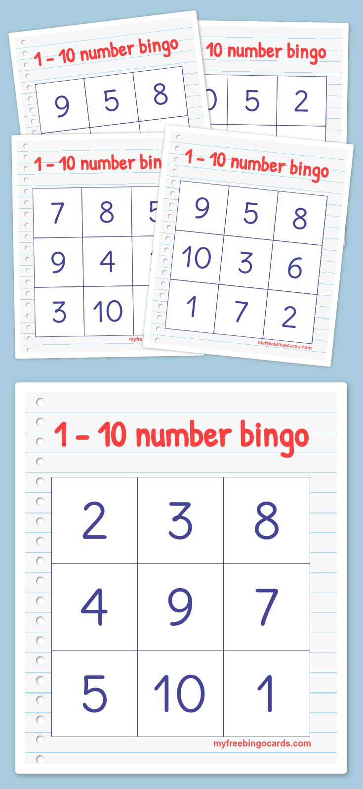 Free printable 1-10 number bingo cards. Perfect for kindergarten or preschool.