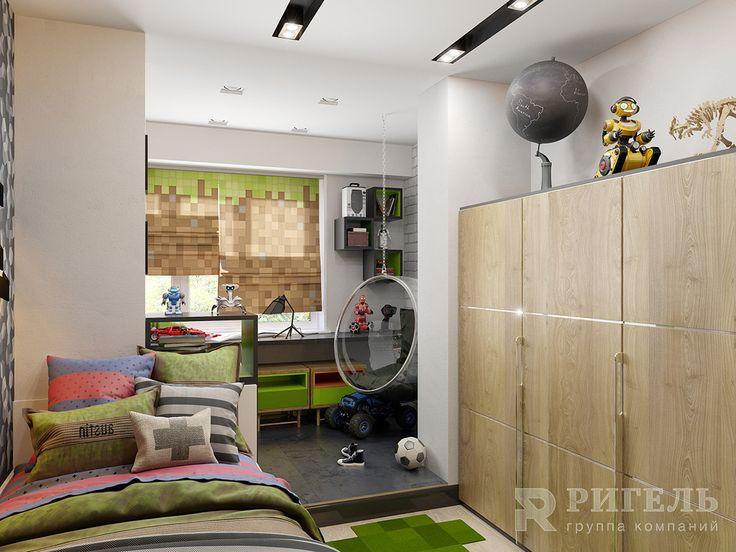 """Дизайн детской комнаты в стиле """"Minecraft"""" #rigelgroup! Площадь комнаты: 20 м2 Другие наши проекты и информация о дизайне интерьеров и ремонте: http://www.rigelgroup.ru/dizayn-interera/  Особое внимание мы уделили разработке дизайна детской для мальчика-подростка. Перед проектированием его комнаты, мы внимательно изучили интересы и пожелания ребенка. Мальчик активный и увлекается компьютерными играми. Поэтому был предложен и реализован вариант детской комнаты, стилизованный под популярную…"""