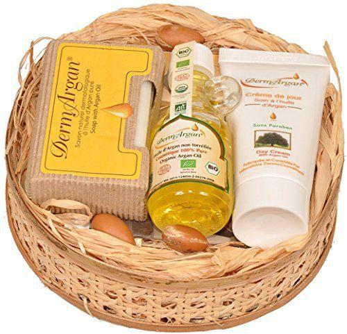 Coffret Cadeau Noël. Coffret cadeau femme ou homme / Coffret soin pour le corps, le visage et les cheveux à l'Huile d'Argan – 3 produits…