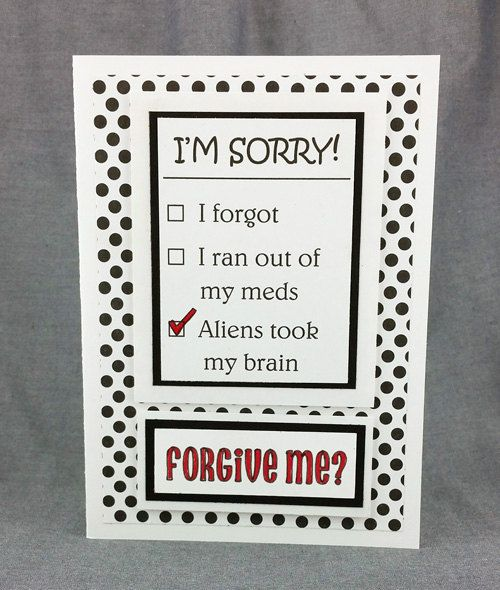 Handmade Fun I'm Sorry Card 3 by CraftyGalCards on Etsy
