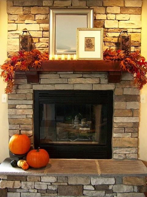 Fall Mantel And I Would Like The Fire Place To Come With