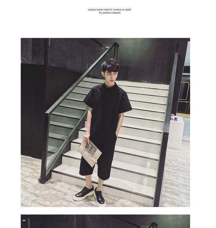 Masculino verano recta de una pieza de los pantalones siameses mamelucos bolsillos con cremallera 7 minutos pantalón en Pantalones casuales de Ropa y Accesorios en AliExpress.com | Alibaba Group