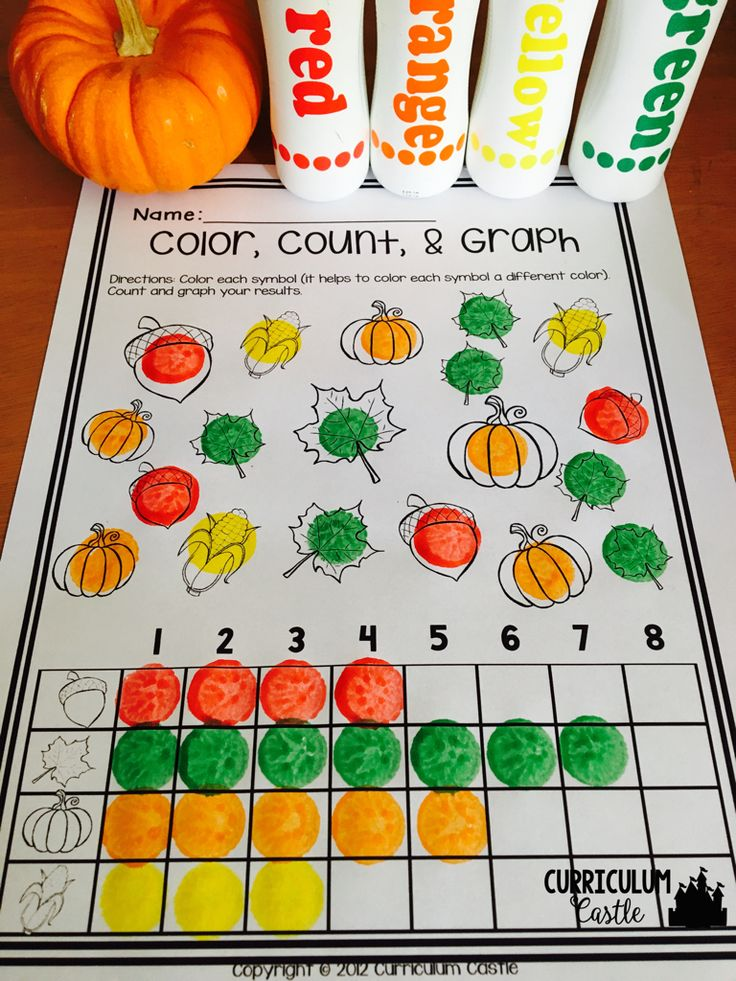Thanksgiving activities for PreK and Kindergarten: color, count and graph!