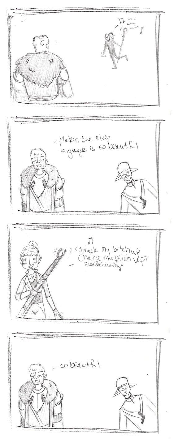 My decent into Dragon Age madness continues. Like most, I've come to love Lavellan/Cullen, and soooo ship the idea that he would (eventually) make the effort to learn elvish. In the meanwhile, igno...
