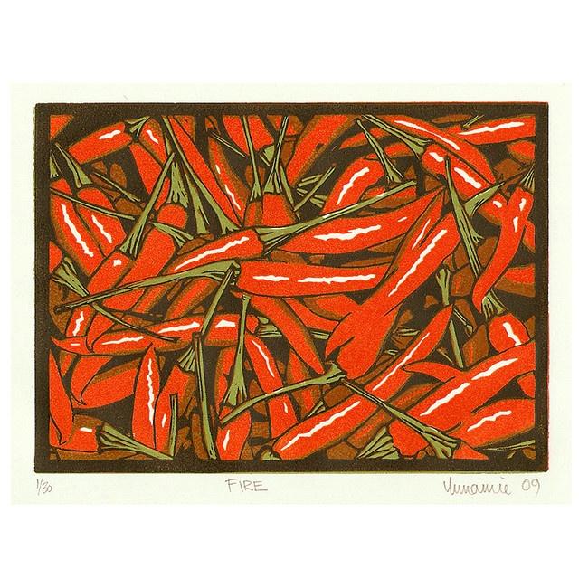 Fire, Lino Print by Annamie Pretorius