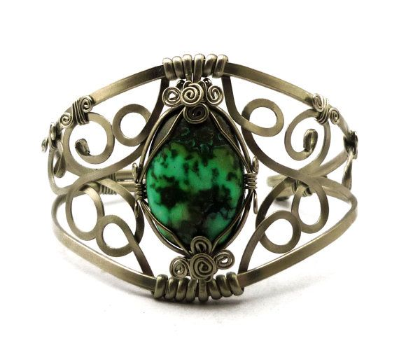 Wire Wrap Baroque Cuff Bracelet with Turquoise stone