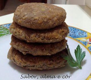 sabor, alma e côr: Burguer de lentilhas com tremoços e millet
