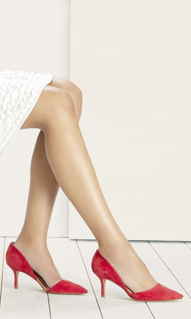 Suede d'Orsay mid heel in hibiscus red with a pointed toe and ultra-walkable heel. The epitome of office-to-out.