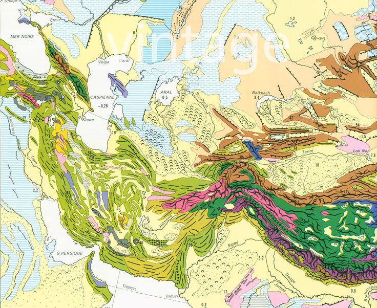 1970 Carte Morphostructurale Asie Europe Orientale Géomorphologie Grand Format de la boutique sofrenchvintage sur Etsy