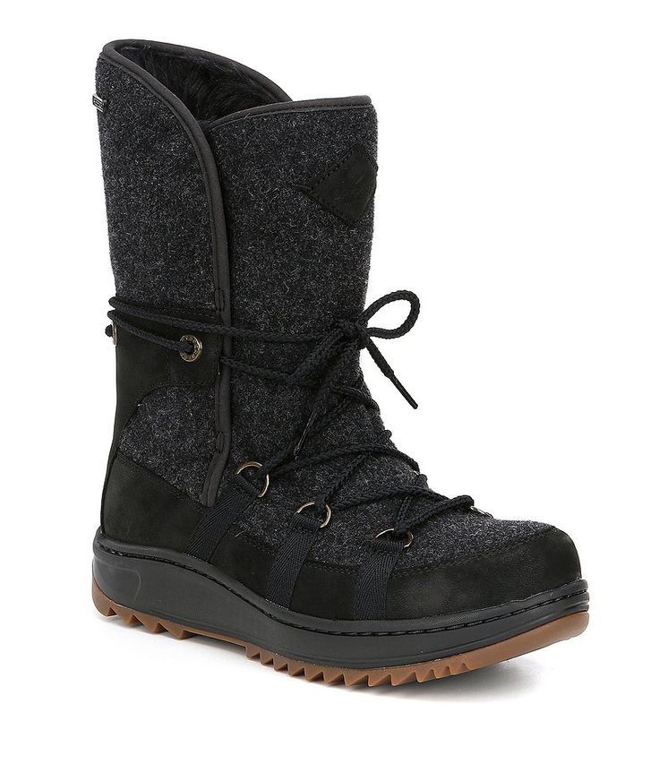 Black:Sperry Powder Ice Cap Waterproof Suede Cold Weather Boots