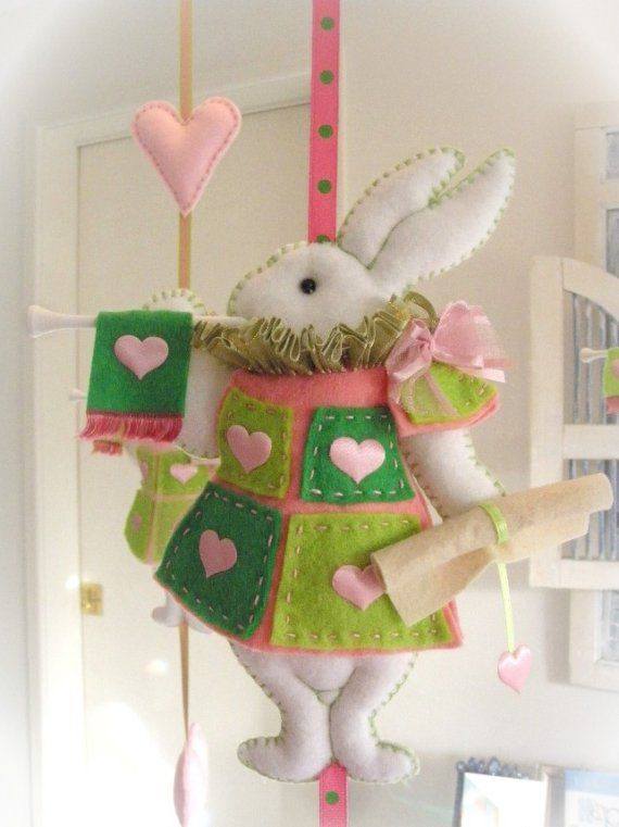 Nursery Mobile White Rabbit in court pink and by lilliputloft,