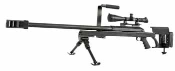 "Armalite Model: AR-50A1 Caliber: .50 BMG Barrel: 30"" Chrome moly, 8 Groove Rifling Twist: RH 1:15"" Muzzle Device: Highly Efficient Multi-Flute Recoil Check, Very Moderate Felt Recoil. Threading: 1""-14 Upper Receiver: Modified Octagonal Form, Grilled & Slotted for Mil STD Scope Rail with Boss to Engage Cross-Slot on Receiver Bolt: Triple Front Locking Lug Ejector: Spring Loaded Plunger, Automatic Ejection Extractor: Sako Type Trigger: Schilen Standard Single Stage, Approximate 5 lbs Pull…"