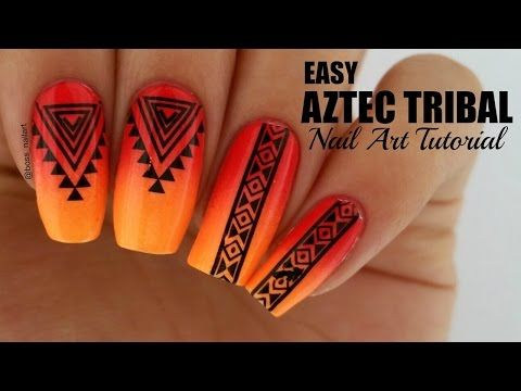 EASY NEON AZTEC/TRIBAL NAILS | Easy Nail Art - http://www.nailtech6.com/easy-neon-aztectribal-nails-easy-nail-art/