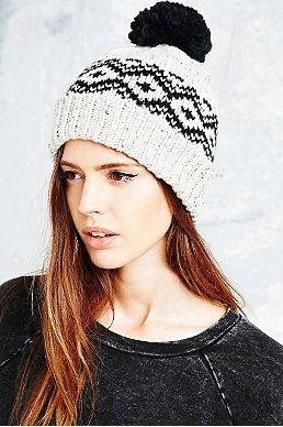 Fleck Fairisle Border Beanie Bobble Hat