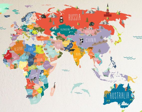 A fun and informative way to help the kiddos become familiar with the map of the WORLD.  The entire design measures 43h x 78w  The WORLD MAP is