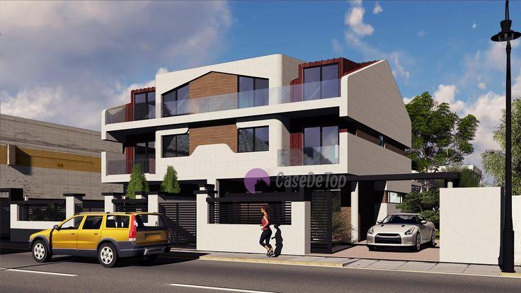 Case cuplate ''in oglinda''- Vedere acces principal| Duplex single-family homes- Street view| Etichete: proiecte case, proiecte vile, proiecte case complexe, proiecte case cu etaj, proiecte case cu mansarda, case moderne
