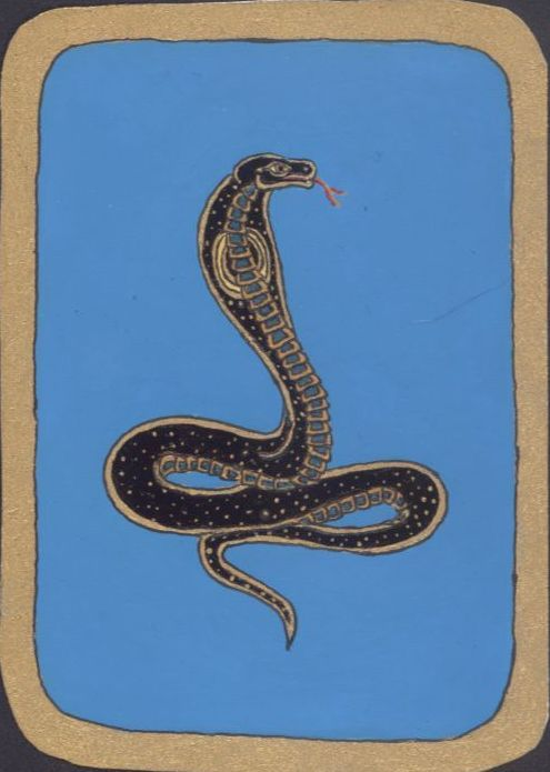Cobra, 2010.For the ancient Egyptians, the snake Uraeus (the bellicose cobra) stood for the CROWN, spitting venom at the Pharaoh's enemies; it was also represented as coiled around the solar disk associated with various sun gods.In philosophy systems of Asiatic origin the kundalini snake, coiled at the base of the spinal column, symbolizes vital energy to be awakened and elevated through meditation.(http://www.scootermydaisyheads.com/fine_art/symbol_dictionary/snake.htm)