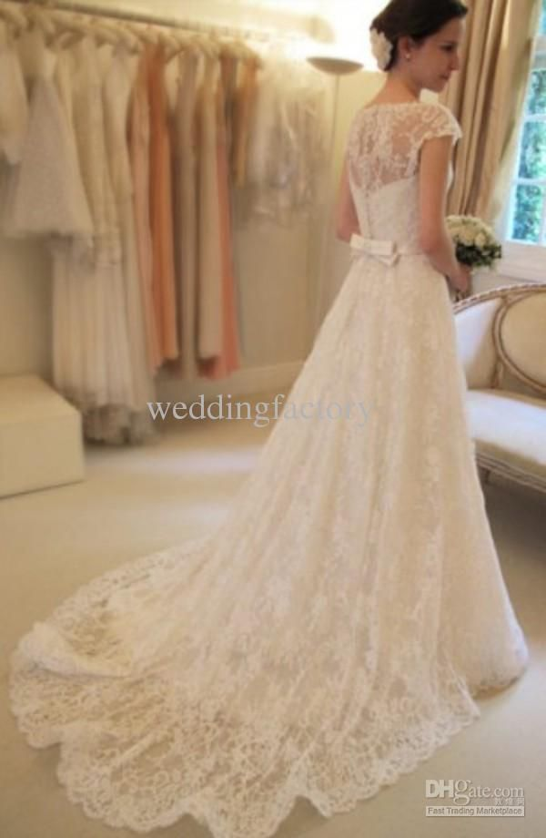 Hot Sale Charming Bateau Neck Lace Wedding Dresses A Line Cap Sleeves Bridal Gowns With Sash Bow Sweep Train Custom Made