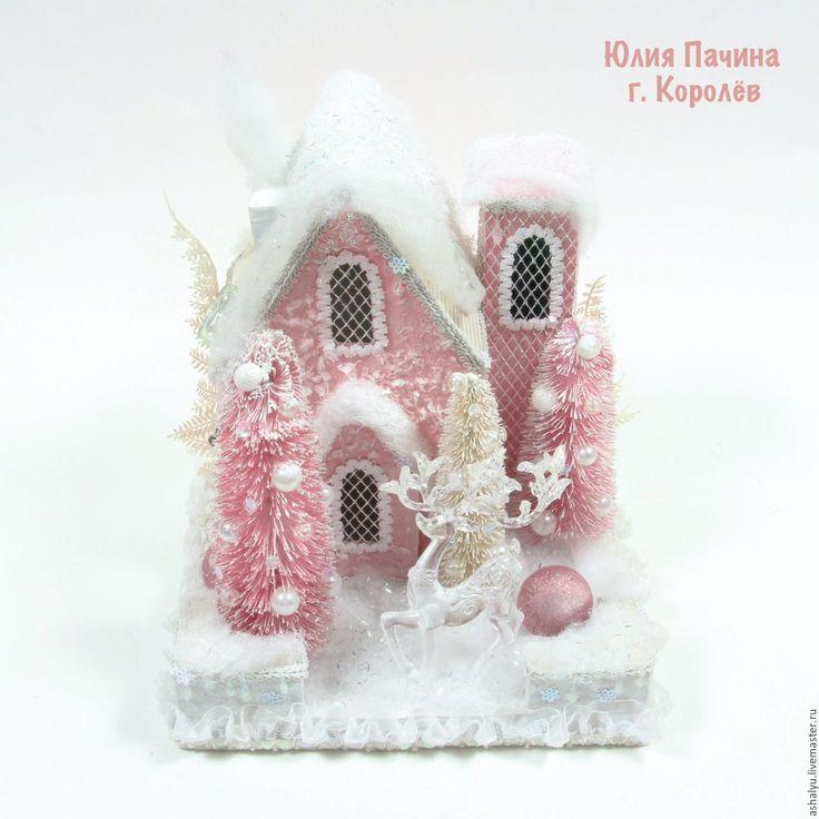 """Купить Дом с конфетами """"Зимняя сказка"""" - бледно-розовый, Новый Год, новогодний подарок"""