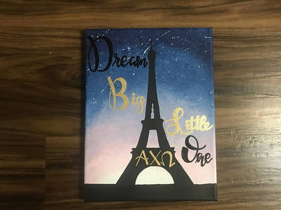 Paris silhouette, hand-painted sorority canvas. Colors, quote, and sorority letters can be changed according to customer preference.