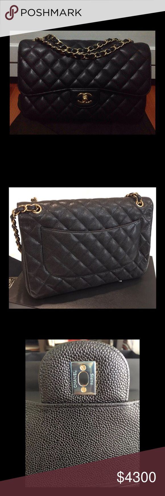 CHANEL JUMBO CAVIAR DOUBLE FLAP BAG WITH GHW CHANEL JUMBO CAVIAR DOUBLE FLAP BAG WITH GHW   BAG IS IN NEW CONDITION.  COMES WITH DUSTER, AUTHENTICITY CARD, AND BOX.   PLEASE, SERIOUS BUYERS ONLY!!!   ***PRICE ON POSH IS FIRM*** ***NO TRADES*** CHANEL Bags Shoulder Bags