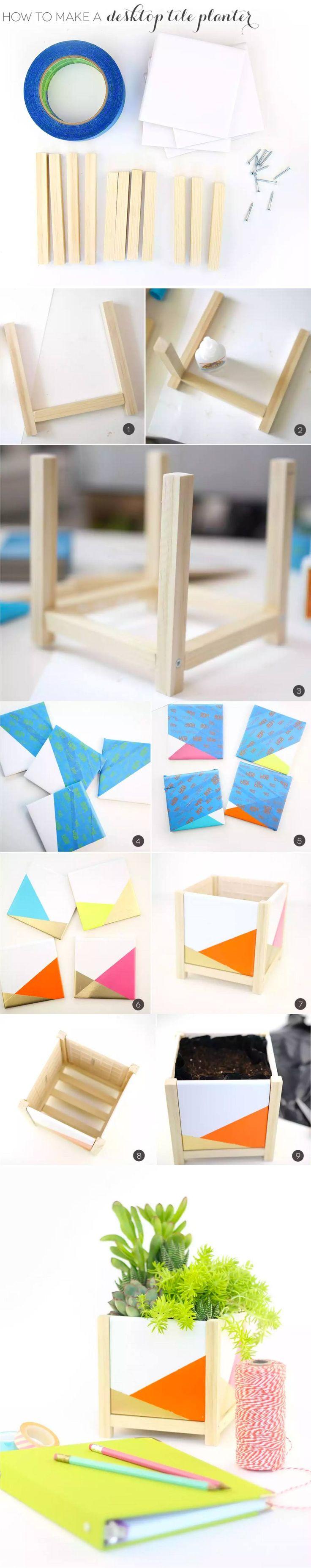 DIY Modern Desktop Tile Planter - damasklove.com - Maceta de escritorio con cerámica pintada