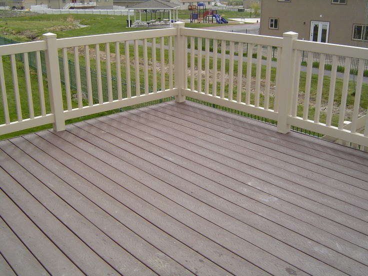 Trex decking with vinyl railing deck makeover for Vinyl decking material