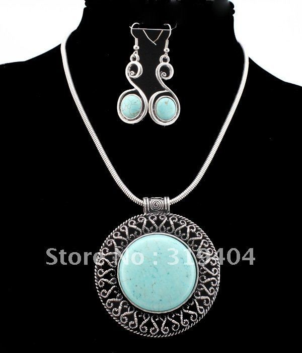 N12040306 Vintage Silver blue turquoise   Fashion Jewelry set dangle earrings free shipping $5.99