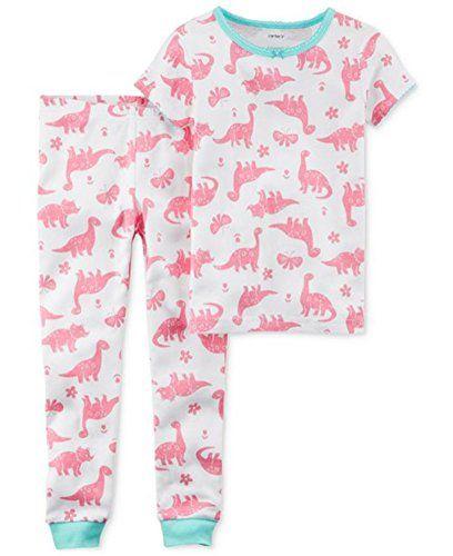 769186ee1 2 Piece Girls White with Pink Dinosaur Pajama Set (6)