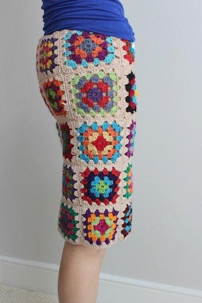 Granny Square Skirt: I love this idea!  One row shorter.