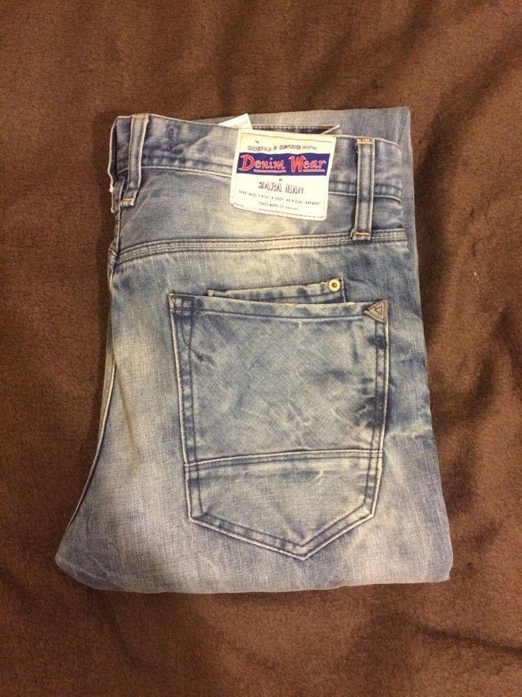 Zara Jeans Man Mens Denim Light Blue Uk 31 | eBay