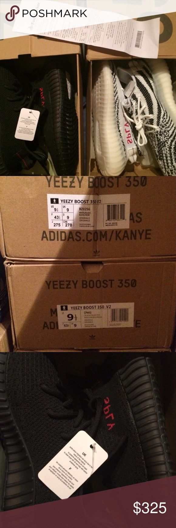 Yeezy Addias Bundles 🚨*Read Description*🚨 These are 1:1 UA's. Literally stitch for stitch, and they're a fraction of the price. Comes with the original boxes. If you want yeezys but not yeezy money these are for you. In the Listing you get the zebras with Breds, but I'm open to any other bundles. Size 9.5/10. COMMENT IF YOU WANT ANOTHER SIZE/Bundle. Yeezy Shoes Sneakers