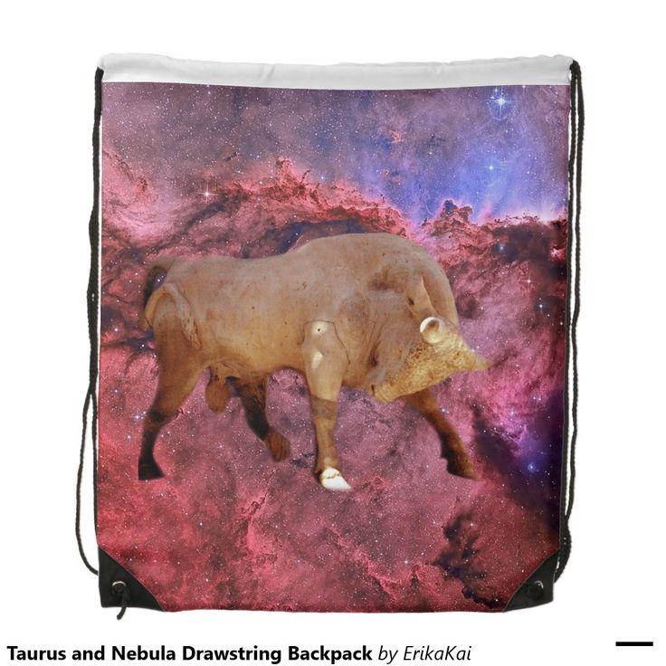 "Bull Taurus and Nebula Drawstring Backpack. 100% polyester. Dimensions: 14.75"" x 17.3""."