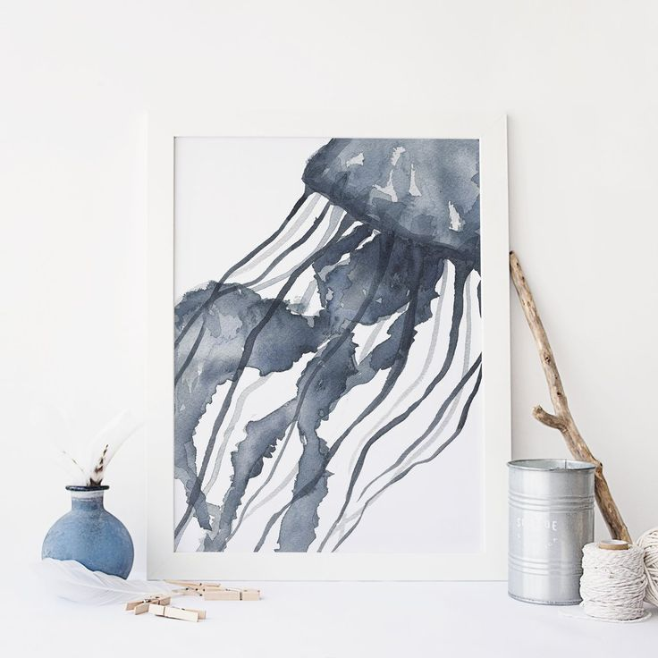 Indigo Blue Watercolor Jelly Fish Art Print Or Canvas In 2020