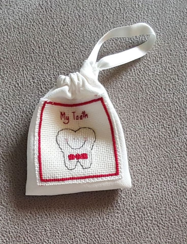 Tooth Fairy Pillow Bag Completed Cross Stitch Keep Sake Gift Red