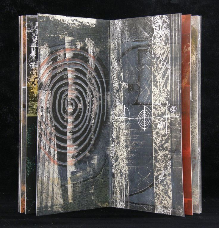 Laura Wait Volute, #7 in series A book of Labyrinths, time and spirals. Monoprinting, handwriting and drum leaf binding.