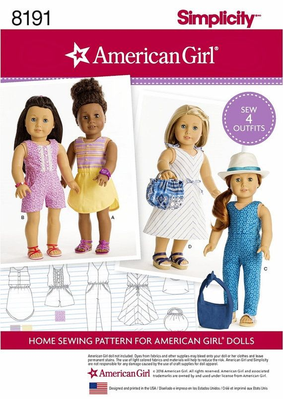 Simplicity 8191 American Girl Doll Clothes Jumper Jumpsuit Dress Bags Totes Pattern For Sew 4 Outfits By SodaCityFinds On Etsy
